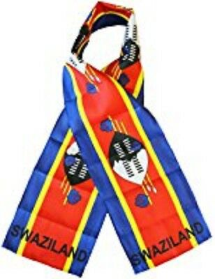 "Swaziland Country Lightweight Flag Printed Knitted Style Scarf 8""x60"""