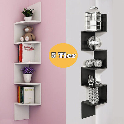 5 Tier Floating Corner Shelf Wall Shelves CD Storage Display Bookcase Home Decor