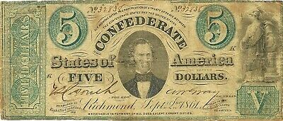1861 $5 Civil War Confederate Currency ~ T-33 ~ Memminger Green Tints Tough Type