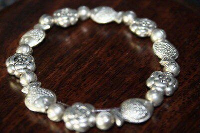 Decoration Handmade China Miao Silver Carved Flowers & Fish Delicate Bracelet