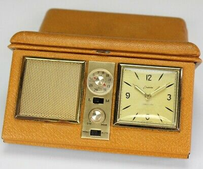 Endura West Germany Travel Alarm Clock Radio Transistor in Genuine Leather Case