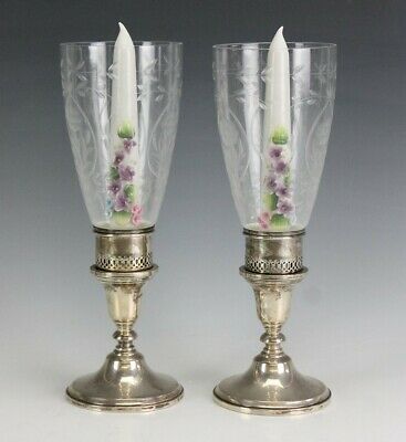 Pr Mueck Carey Co Sterling Silver 925 Candleholders w/ Ucago Ceramic Candles BNF