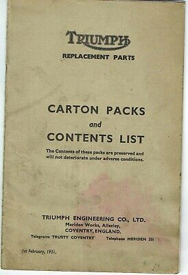 Triumph Replacement Parts Carton Packs And Contents List 1937 To 1951
