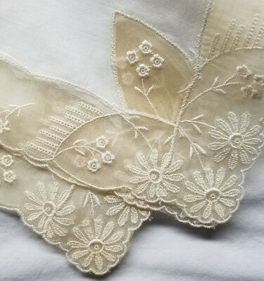 Antique Cotton an Tulle Hand Embroidered Handerchief - Great Bridal Handkerchief