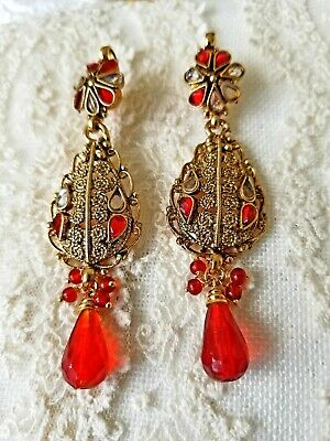 Vintage earrings faceted red glass antique  Victorian style pierced back
