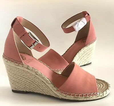a7ef2dbe9ad VINCE CAMUTO WOMENS Wedge Heels Fancy Flamingo Nubuck Leather Espadrille  Size 10