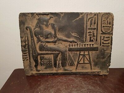 Rare Antique Ancient Egyptian Stela clever queen Nefertari playing chess1255B