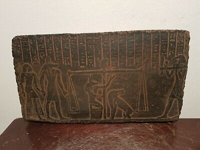 Rare Antique Ancient Egyptian stela Judgement Day God Anubis Scale 1640-1520BC