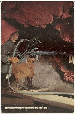 Suspended in the Stopes of a Gold Mine Postcard Mining