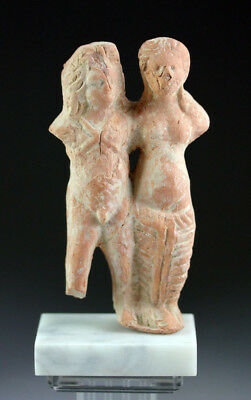 *SC* GREEK TERRACOTTA FIGURE OF SATYR & MAENAD, 3rd-2nd cent. BC!!