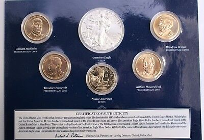2013 US Mint Annual Uncirculated Dollar 6 Coin Set ASE Presidents Sacagawea $1
