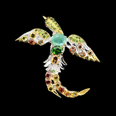 Unheated Oval 8x6mm Emerald Diopside Sapphire 925 Sterling Silver Bird Brooch