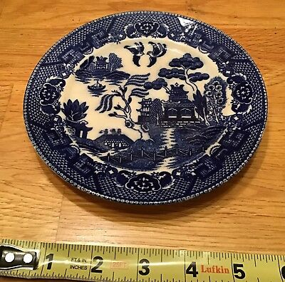 """Vintage 6.25"""" Blue Willow Plate Made In Occupied Japan"""