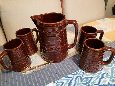 Vintage USA Marcrest Large Pitcher & 4 DAISY DOT Tankards/Mugs/Cups/Steins BROWN