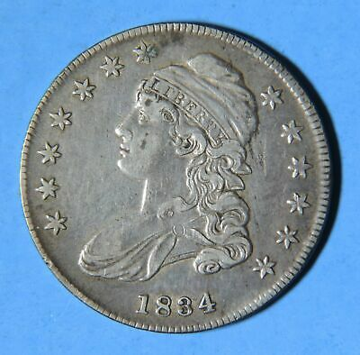 1834 U.S. Silver Capped Bust Half Dollar 50 C. Cent Piece Type Coin
