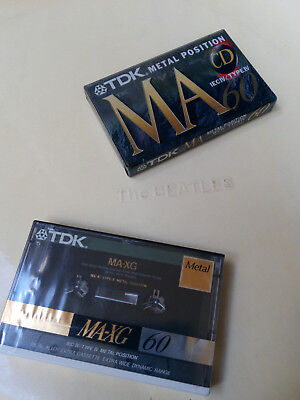 TDK MA-XG 60 and MA CD 60 blank audio METAL cassette tapes