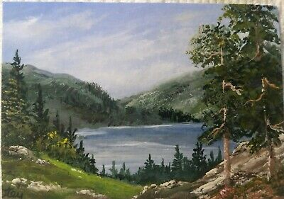 Aceo, acrylic,original, landscape, Breezes By The Lake by Donna Otey