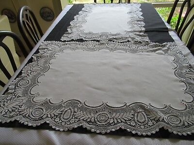 Antique Lace on two large TABLE MATS matching pair, 1 perfect 1 slight damage