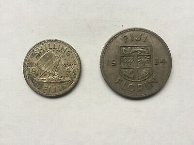 1934 Fiji 1 Florin, and 1 Shilling 1943 Silver Coins