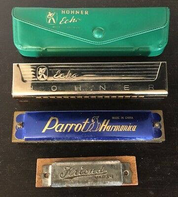 Lot of 3 Vintage Harmonicas -HOHNER ECHO -Germany, PARROT -China, FRIENDS -Japan