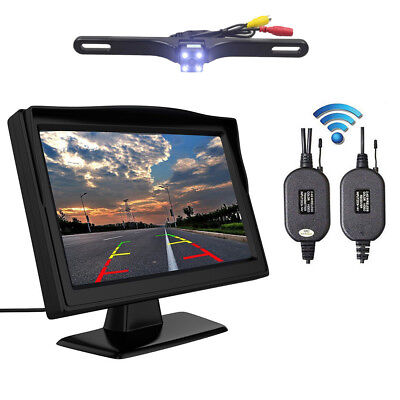 "4.3""TFT LCD Car Rear View Backup Monitor Wireless Park Night Vision Camera Kit"