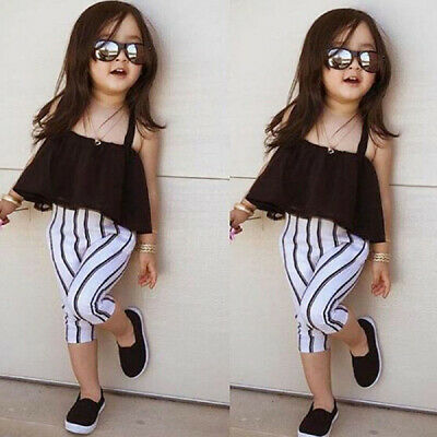 UK Toddler Kid Baby Girl Clothes Strap Tops+Stripe Long Pants Summer Outfits Set