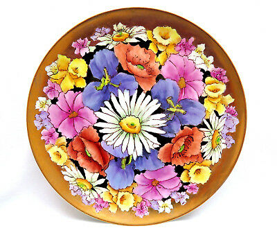 Vintage Large Hand Painted Floral Cabinet Plate