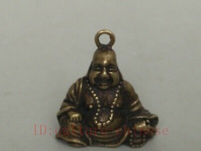 Collection Old China Tibet Bronze Carving Maitreya Buddha Statue Pendant Amulet