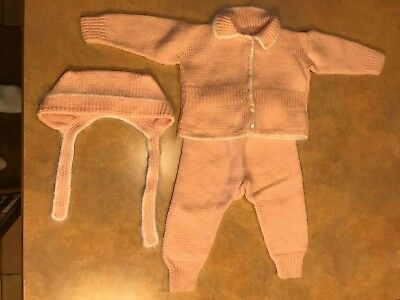 Vintage Antique Hand Made Crochet Knit Baby / Doll 1950's Hat Sweater Pants Set
