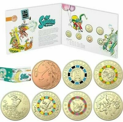 💰2019 MR.SQUIGGLE SET OF UNCIRCULATED 4 x $2, 2 x $1 & 1c COINS (7) IN FOLDER