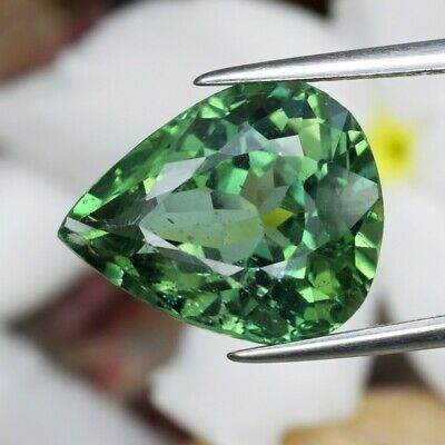 6.58ct 13.6x11.2mm Pear Natural Unheated Green Apatite, Brazil