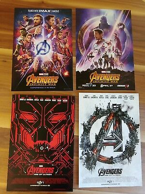 MARVEL STUDIOS AVENGERS: INFINITY WAR  and AGE OF ULTRON IMAX Promo 4 Poster lot