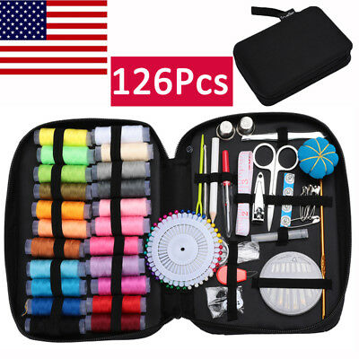 【126Pcs】Sewing Kit Travel Mini Emergency Accessories Needle Thread Hand Home US