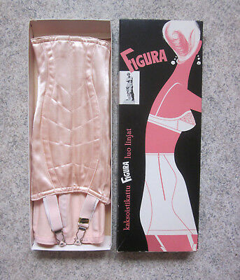Vtg FIGURA Open BOTTOM Corset GIRDLE w/ 4 GARTERS Unworn MINT In BOX Peach SATIN