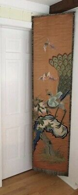 """Large Antique Chinese Silk Textile Embroidery Panel 19th/20th C 82"""" x 19.5"""""""