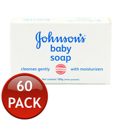 60x JOHNSON'S BABY SOAP BAR GENTLE HYPOALLERGENIC DERMATOLOGIST TESTED BULK 100G