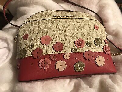 ceac0a245514 NWT Michael Kors Emmy Small Cindy Dome Crossbody MK Floral Bag - Pink  Vanilla