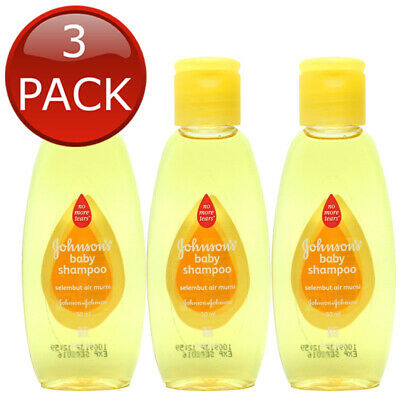 3 x JOHNSON'S BABY SHAMPOO GENTLE NO TEARS HYPOALLERGENIC SOAP FREE BULK 50mL