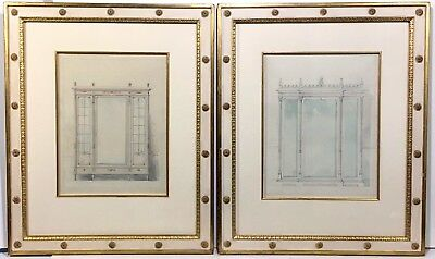 2 Original Antique FRENCH FURNITURE DESIGN DRAWINGS in Neoclassical Style Frames