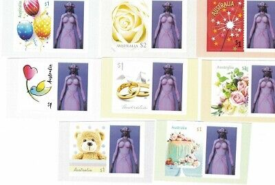 """Australia 2019 set of 8 Personalised """"Moments to Treasure"""" Mint Stamps with Tabs"""