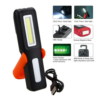 Magnet Flashlight With Hook Folding 3W COB + LED Rechargeable Work Light Torch