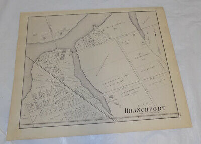 1878 Antique NEW JERSEY Town Map///BRANCHPORT, MONMOUTH COUNTY, NEW JERSEY