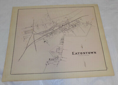 1878 Antique NEW JERSEY Town Map///EATONTOWN, MONMOUTH COUNTY, NEW JERSEY