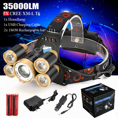35000LM 5x XM-L T6 LED Rechargeable 18650 Headlamp Head Light Zoomable Torch