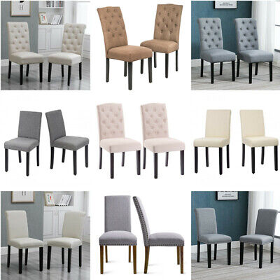 Pair of Fabric Upholstered High Back Dining Chairs Wood Legs Dining Room Kitchen