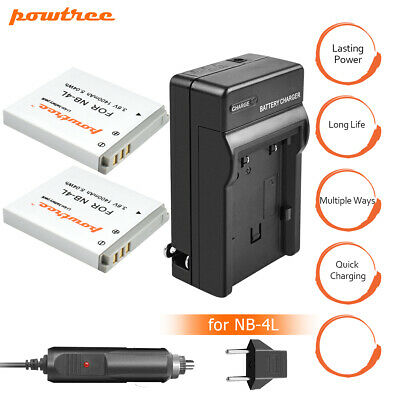 NEW 2x Pack NB-4L NB4L BATTERY+Charger FOR CANON SD1000 SD1100 US Sales TP