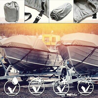 Boat cover dinghy speedboat fish ski waterproof tarpaulin grey 487x180cm 11-13
