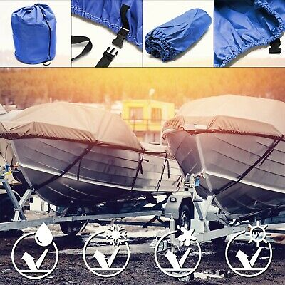 Boat cover dinghy speedboat fish ski waterproof tarpaulin blue 487x180cm 11-13