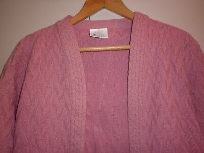 Vintage Au Made Pink Pure Wool  Cardigan Size 14 Good Condition