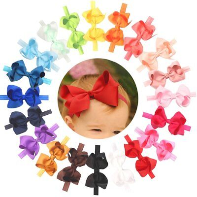 20Pcs Baby Girls Solid Ribbon Hair Bows Headbands Toddler Kids Big Bow Hair Band